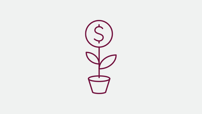 cash growing like a plant icon in the color burgundy