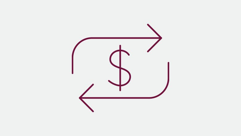 dollar sign being transferred back and forth icon in the color burgundy