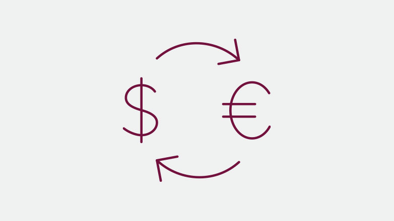 currency exchange icon in the color burgundy