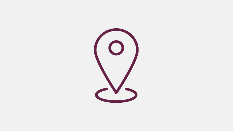 Location pin icon in the color burgundy.