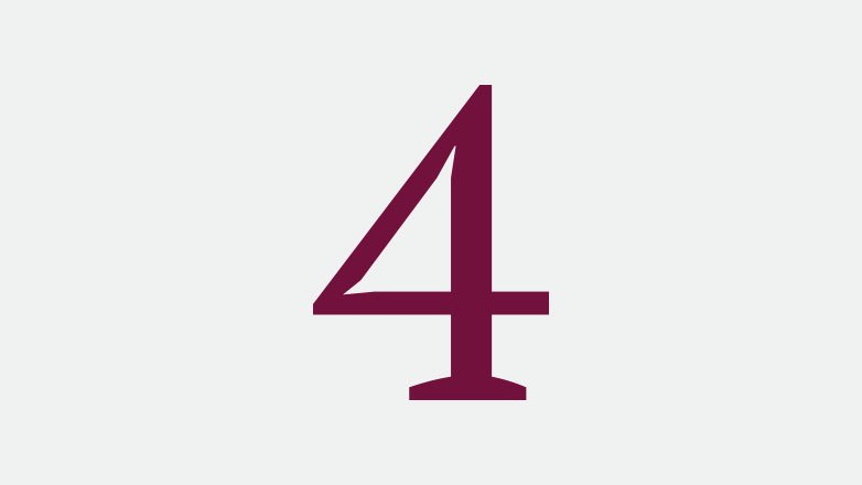 number 4 icon in the color burgundy