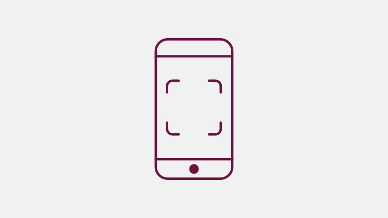 Phone with QR code scanner icon in the color burgundy