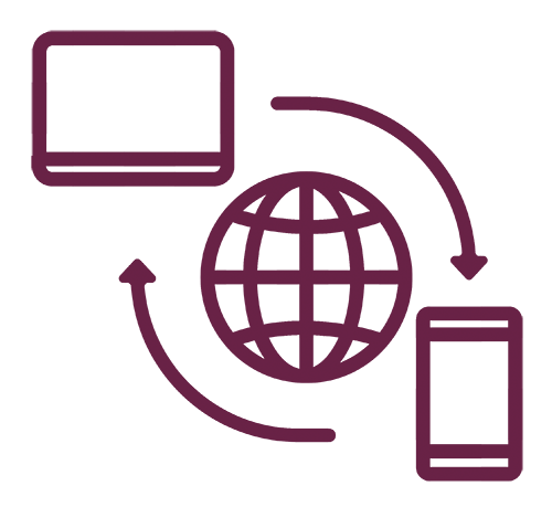 A lap top and a mobile phone icon around a world wide web icon with two arrows symbolizing remote access.