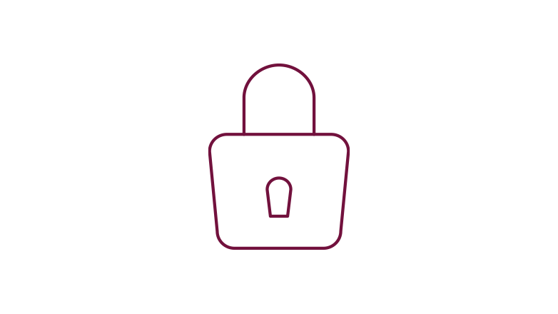 padlock icon in the color burgundy