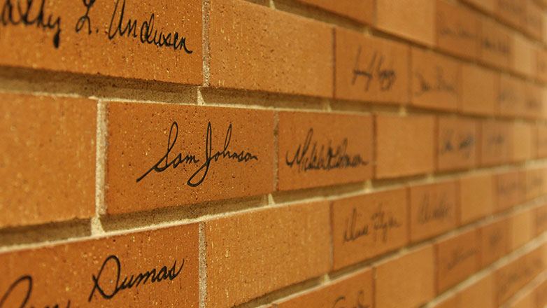 Wall of Pride bricks located at Johnson Financial Group headquarters in Racine, WI.