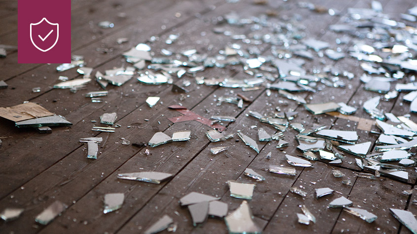 broken glass showing civil unrest on perosnal property
