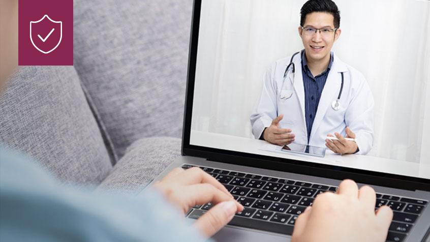 doctor consulting with patient over video chat