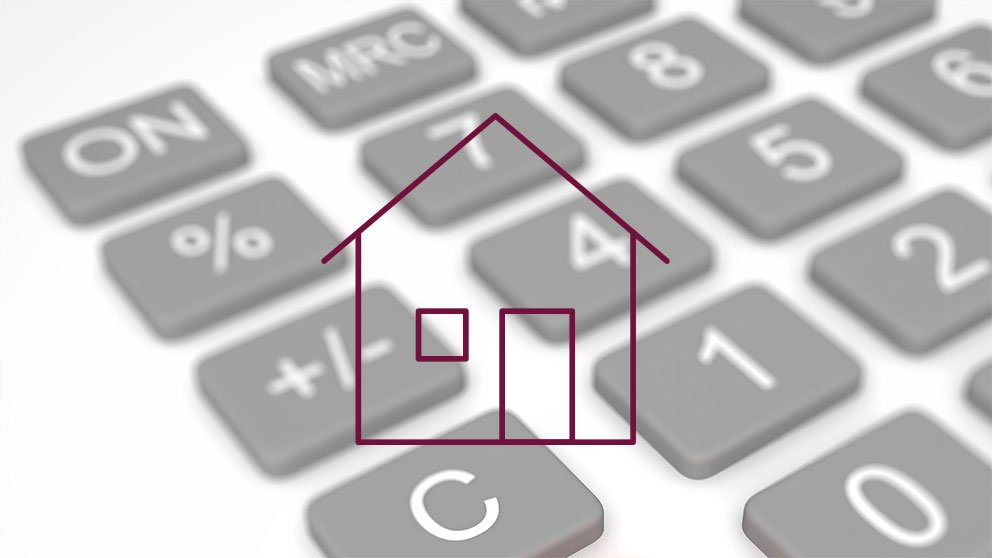 Calculator button background with mortgage icon.