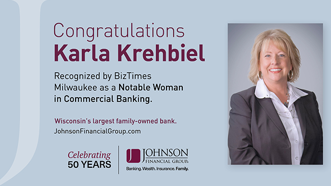 Karla Krehbiel is named among Milwaukee's most notable woman in commercial banking by BizTimes.