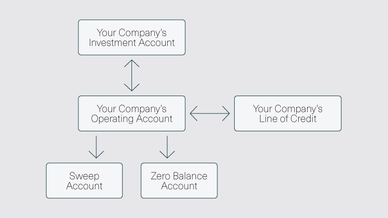 Your company's investment account, flowing to your company's operating account, flowing to zero balance accounts and your company's line of credit